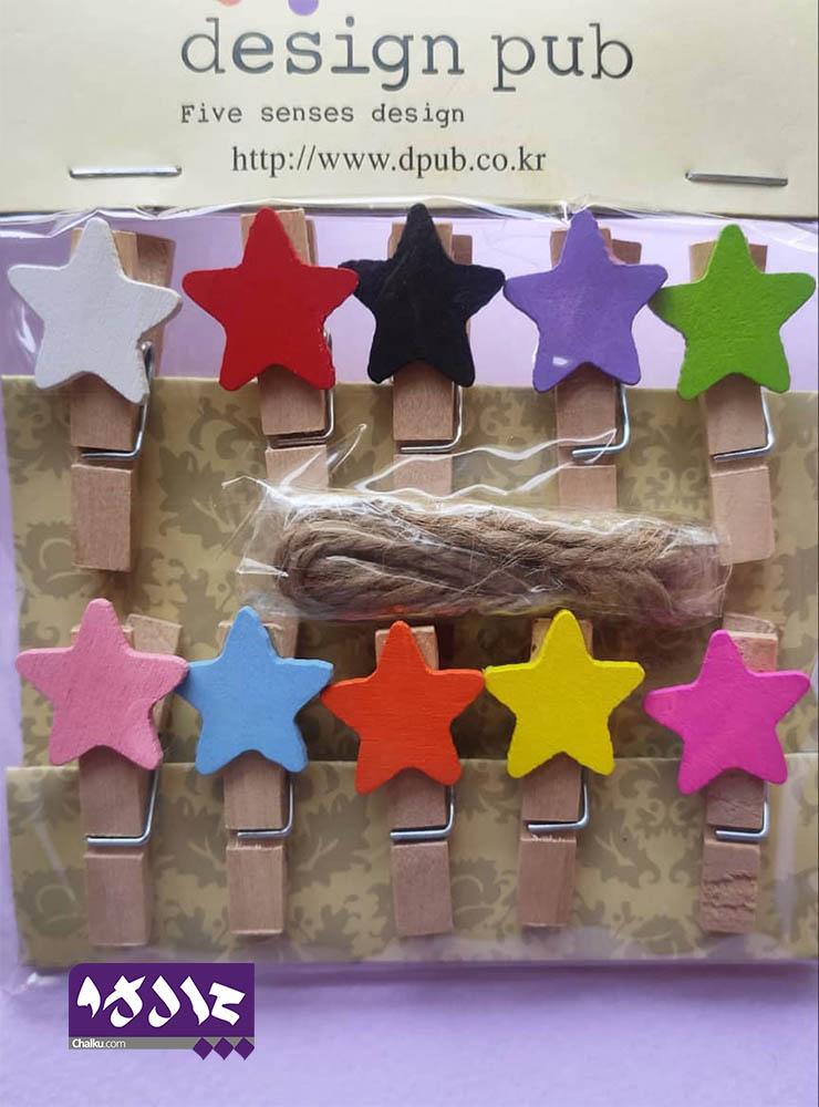 گیره چوبی ستاره رنگی