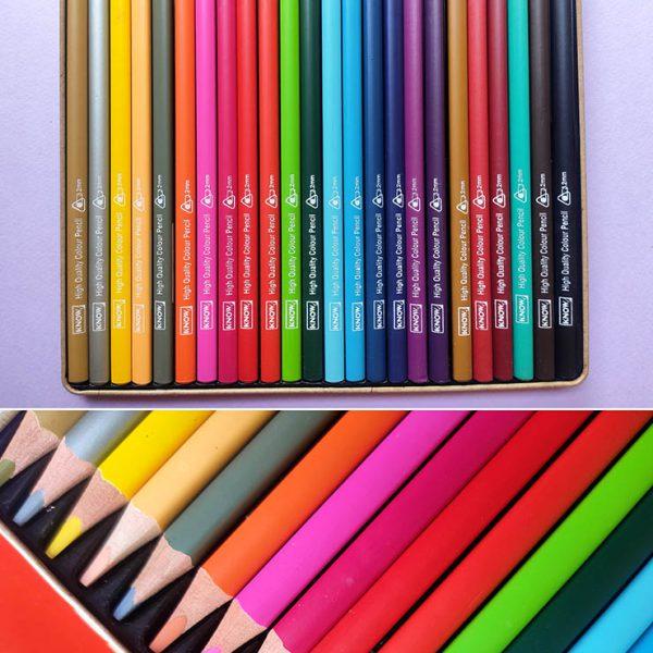 مداد رنگی 24 رنگ Know جعبه فلزی