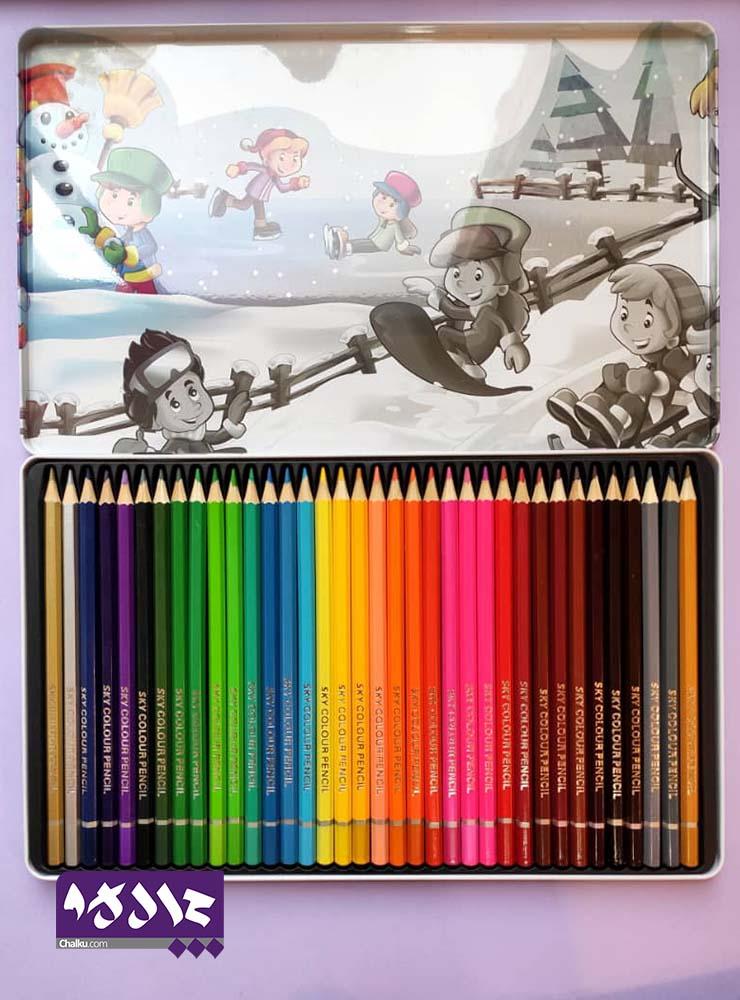 مدادرنگی ۳۶ رنگ (اسکای) Sky جعبه فلزی