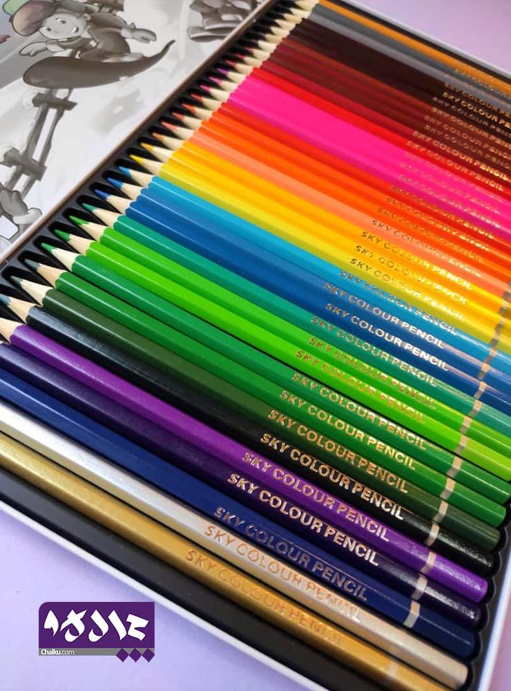 مدادرنگی ۳۶ رنگ اسکای جعبه فلزی