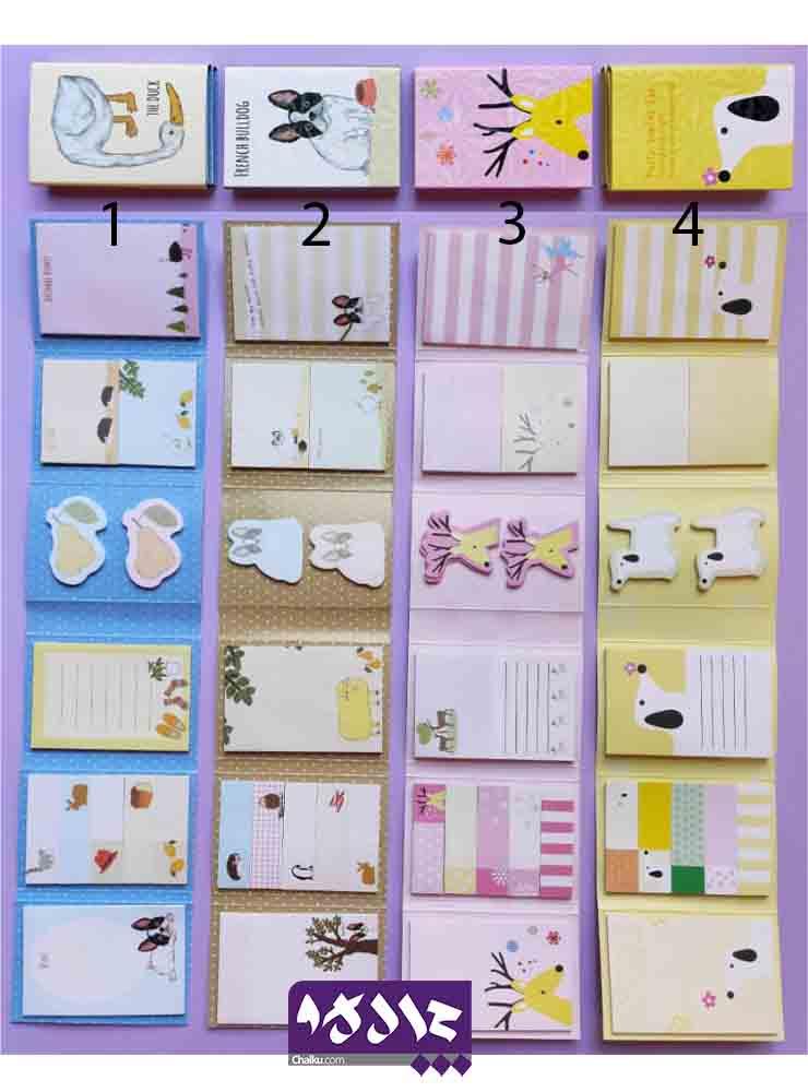 ست استیک نت دفترچه ای طرح حیوانات