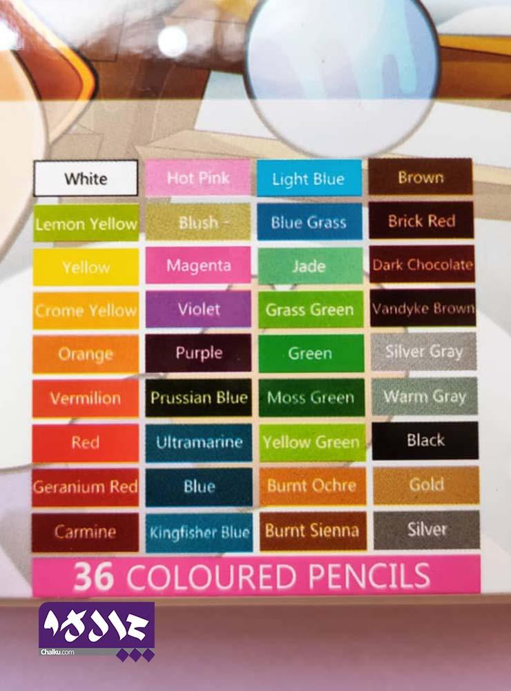 مدادرنگی ۳۶ رنگ جعبه فلزی