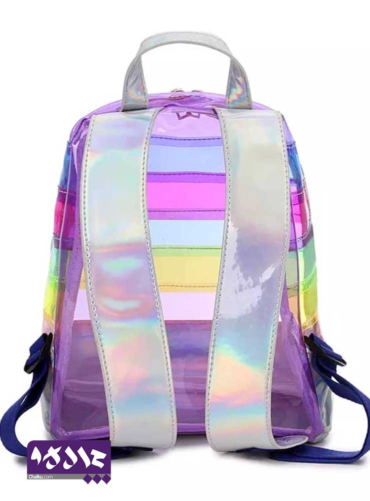 کوله پشتی شفاف رنگارنگ هلوگرامی