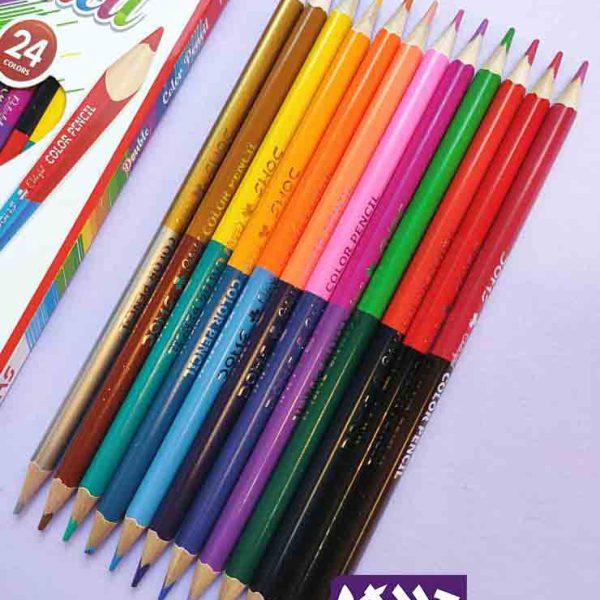 مداد رنگی 24 رنگ دو سر دامس